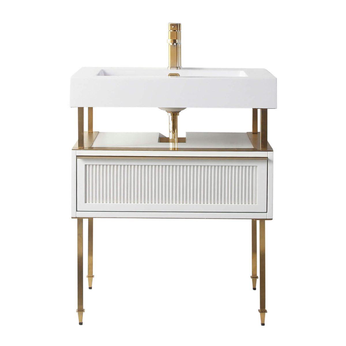 "Dakota 30"" Modern Bathroom Vanity  White with Satin Bras Hardware"