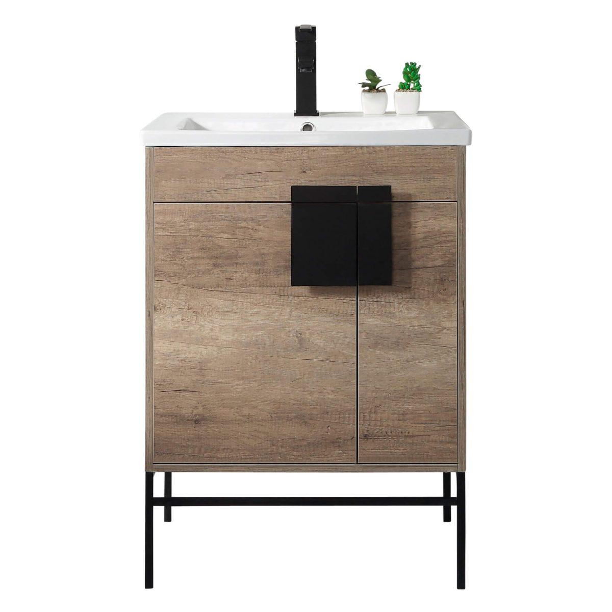 "Shawbridge 24"" Modern Bathroom Vanity  Shadow Gray with Black Hardware"