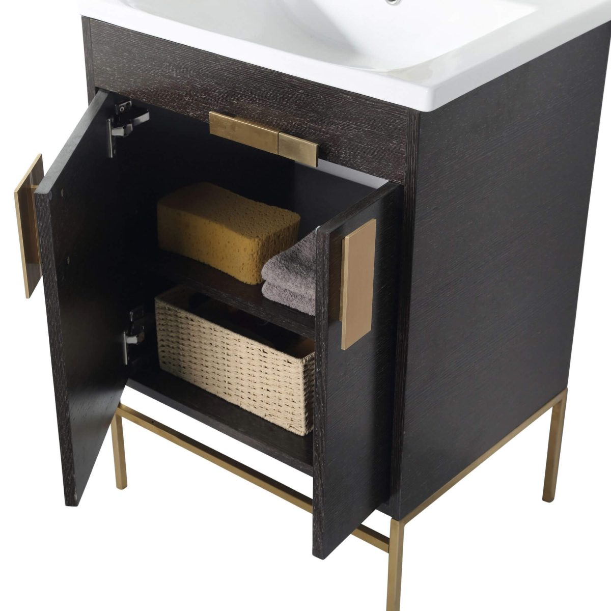 "Shawbridge 24"" Modern Bathroom Vanity  Black Oak Straight Grain with Satin Brass Hardware"