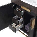 Shawbridge 24″ Modern Bathroom Vanity  Black Oak Straight Grain with Satin Brass Hardware