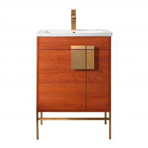 "Shawbridge 24"" Modern Bathroom Vanity  Spicy Walnut with Satin Brass Hardware"