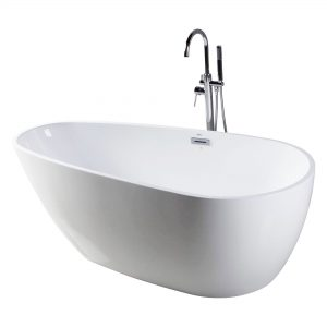 "Capsule 55""  Freestanding White Bathtub"