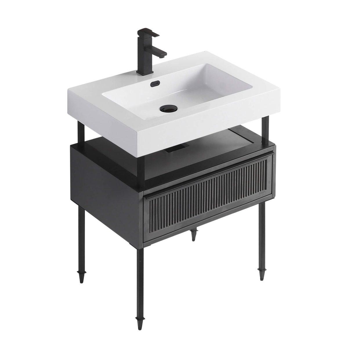 "Dakota 30"" Modern Bathroom Vanity  Rock Gray with Black Hardware"