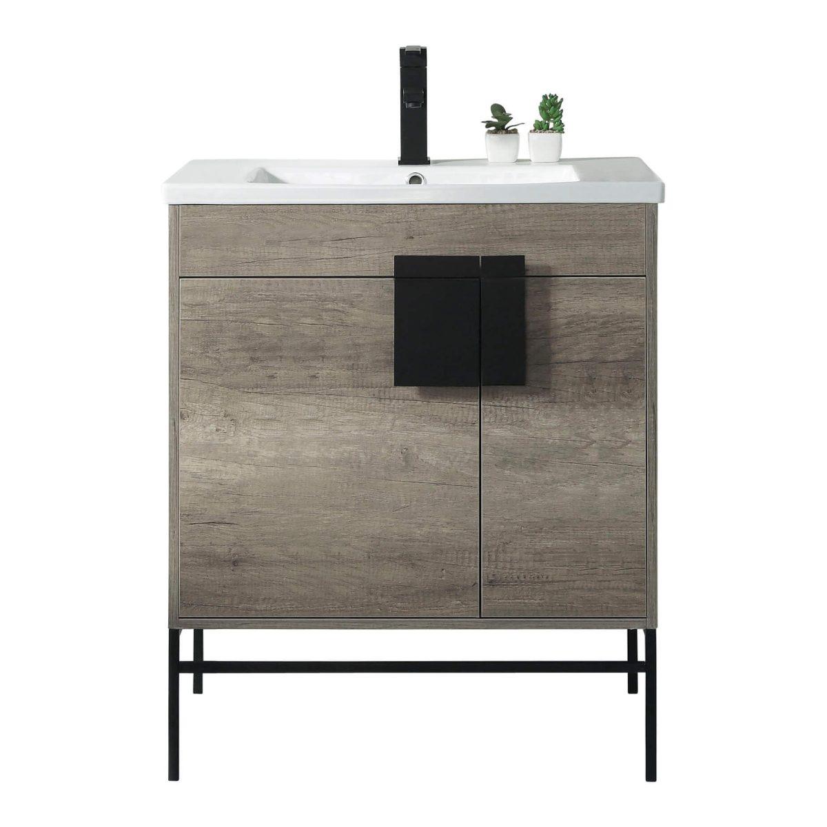 "Shawbridge 30"" Modern Bathroom Vanity  Shadow Gray with Black Hardware"