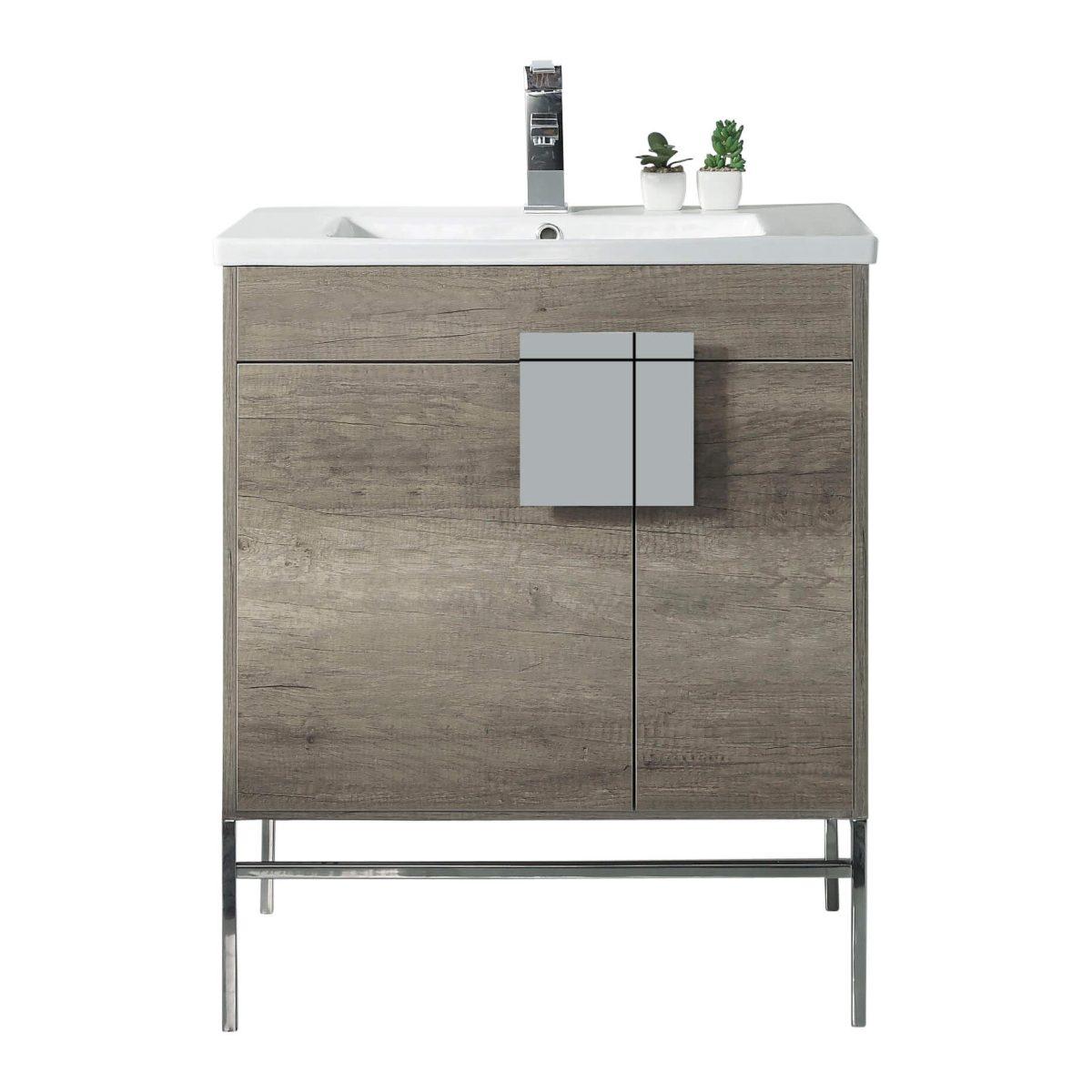 "Shawbridge 30"" Modern Bathroom Vanity  Shadow Gray with Polished Chrome Hardware"