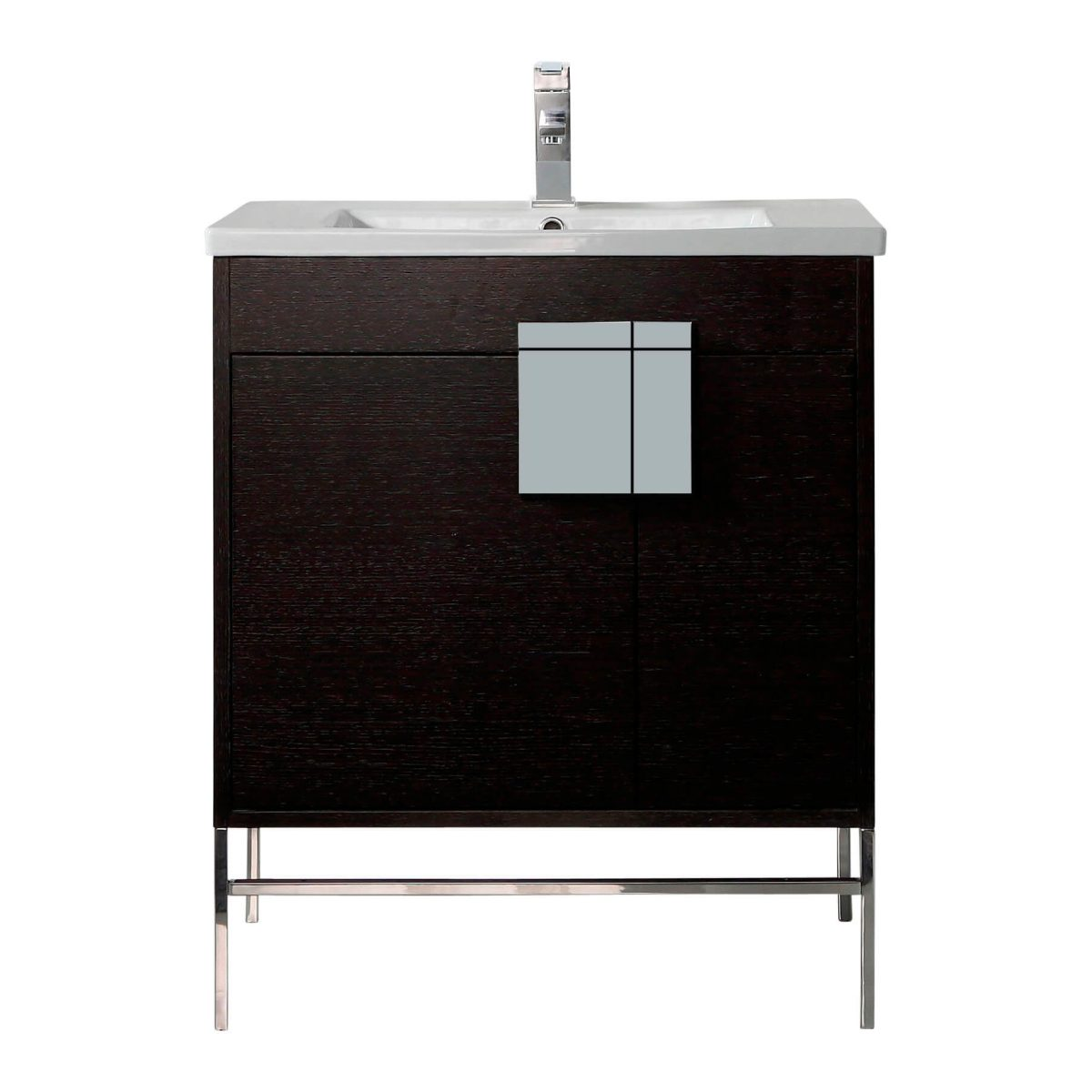"Shawbridge 30"" Modern Bathroom Vanity  Black Oak Straight Grain with Polished Chrome Hardware"