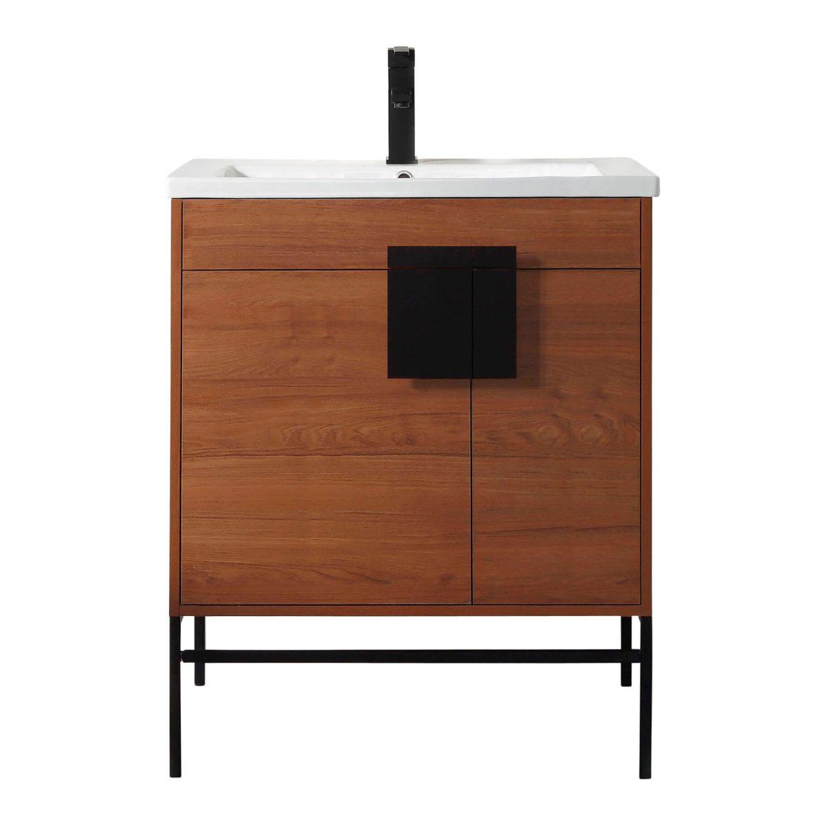 "Shawbridge 30"" Modern Bathroom Vanity  Spicy Walnut with Black Hardware"