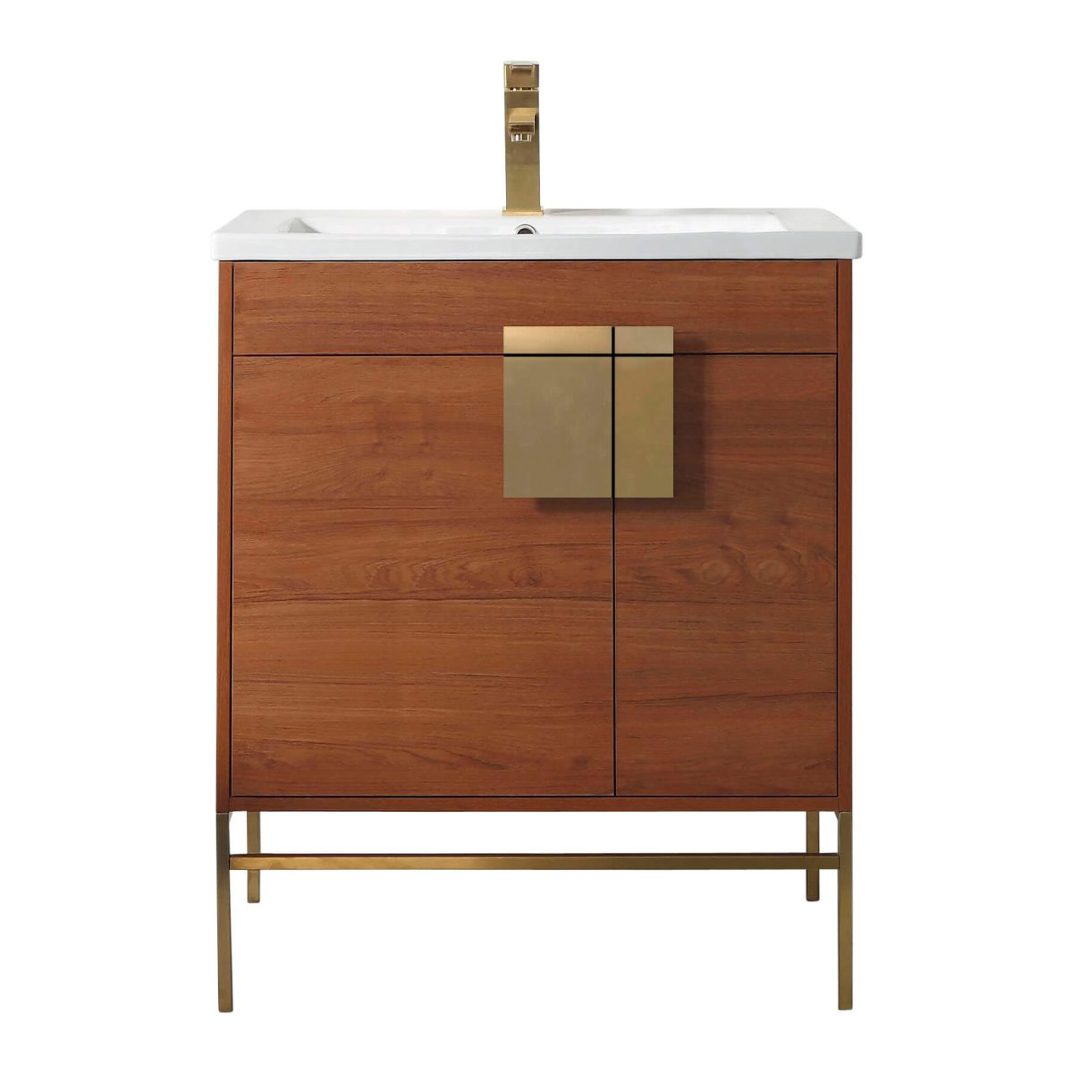 "Shawbridge 30"" Modern Bathroom Vanity  Spicy Walnut with Satin Brass Hardware"