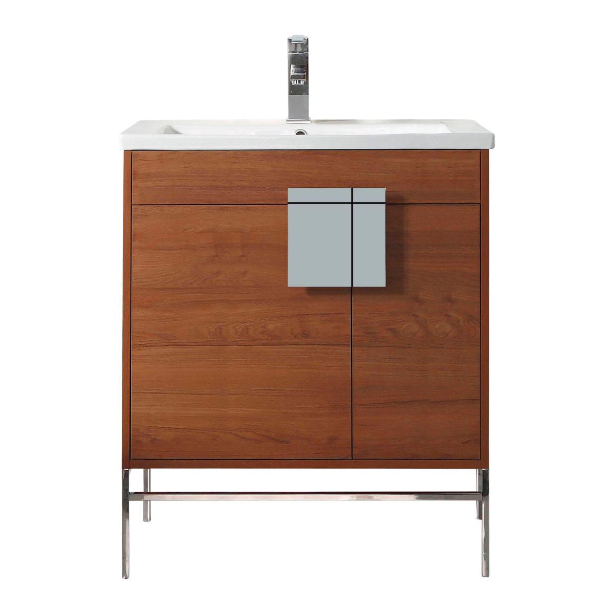 "Shawbridge 30"" Modern Bathroom Vanity  Spicy Walnut with Chrome Hardware"