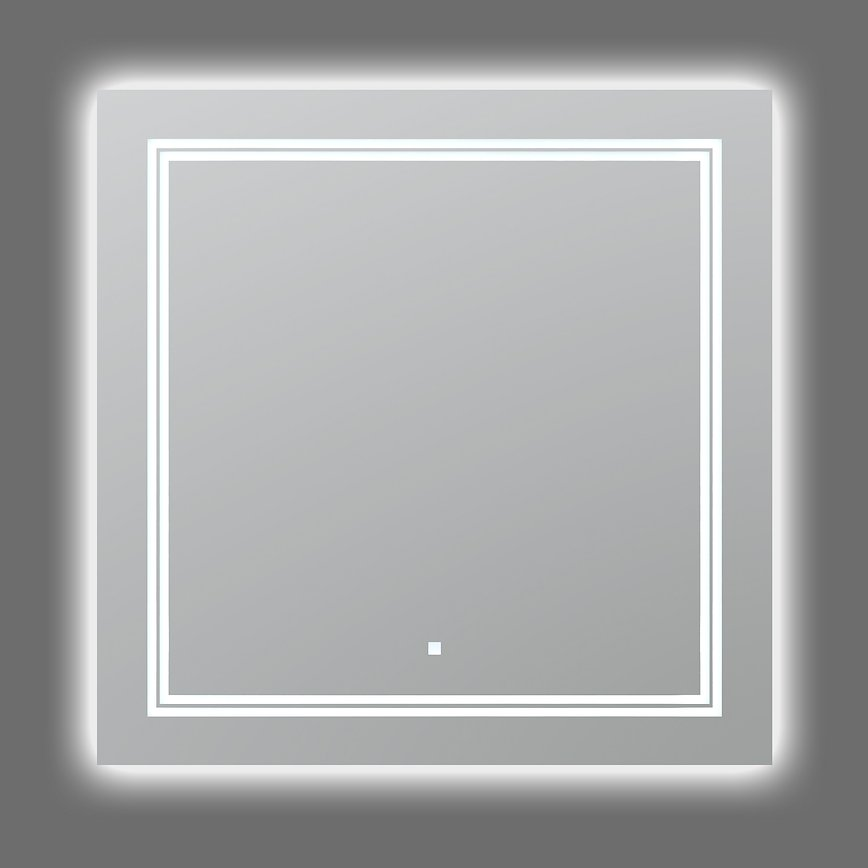 AQUADOM Soho 30 inches x 30 inches Led Lighted Silver Mirror for Bathroom