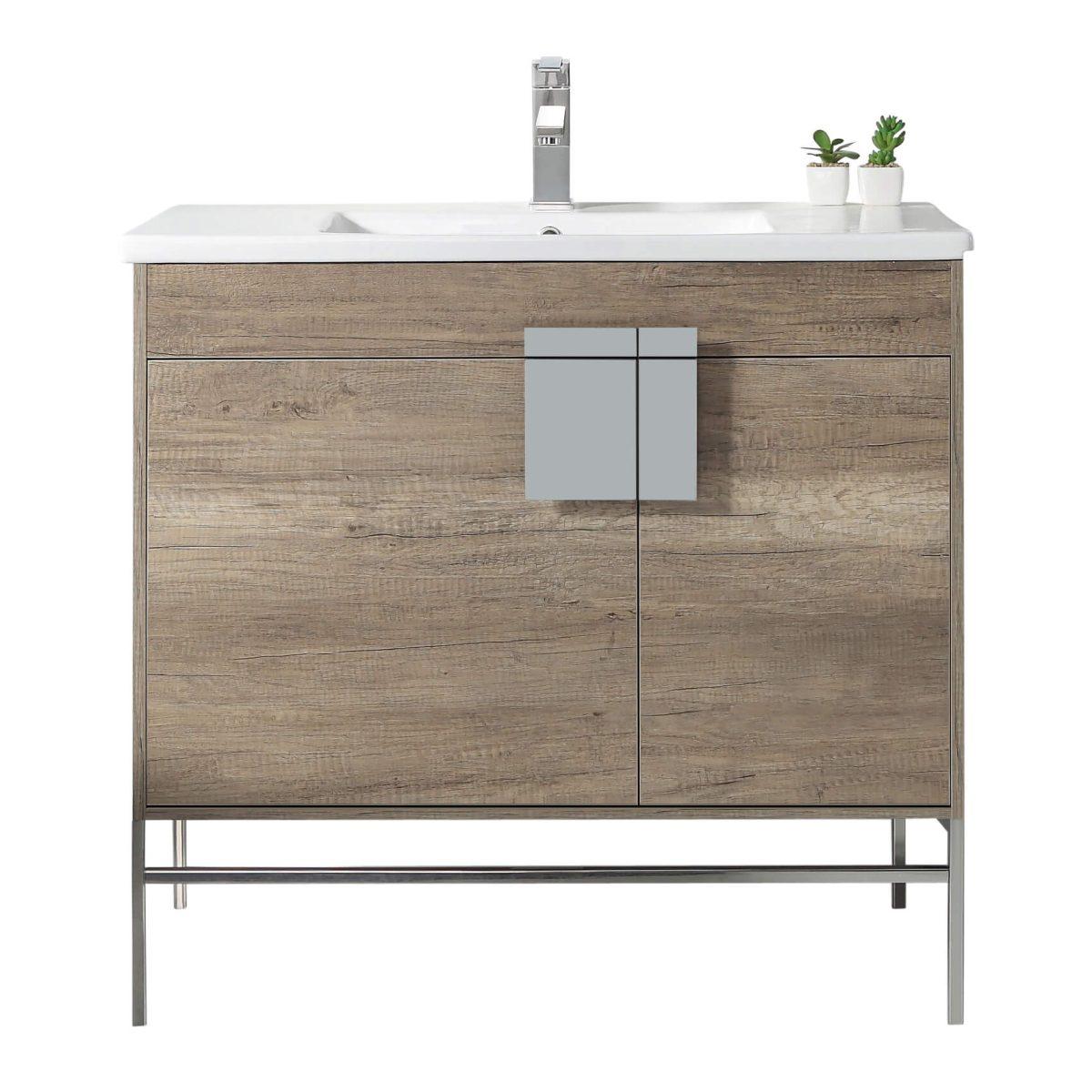 "Shawbridge 36"" Modern Bathroom Vanity  Shadow Gray with Polished Chrome Hardware"