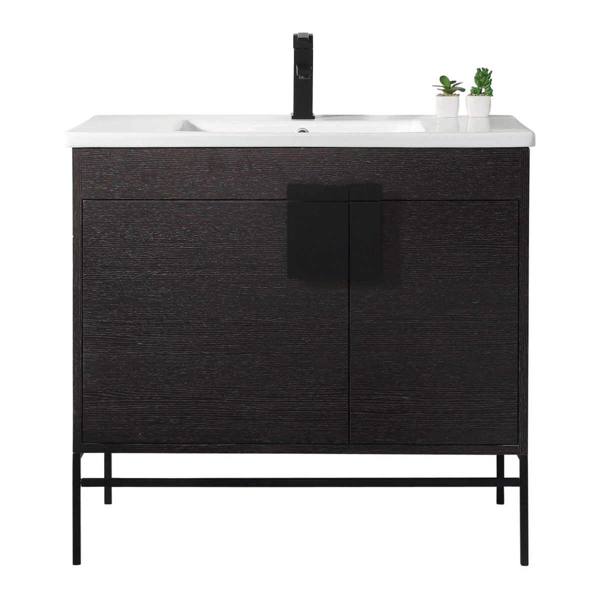 "Shawbridge 36"" Modern Bathroom Vanity  Black Oak Straight Grain with Black Hardware"