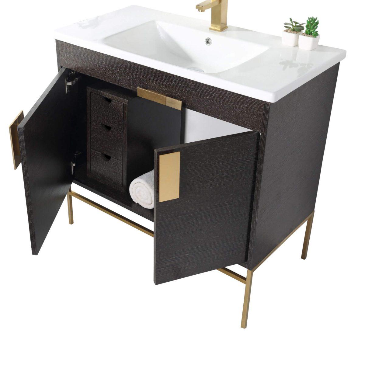 "Shawbridge 36"" Modern Bathroom Vanity  Black Oak Straight Grain with Satin Brass Hardware"