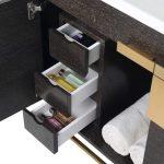 Shawbridge 36″ Modern Bathroom Vanity  Black Oak Straight Grain with Satin Brass Hardware