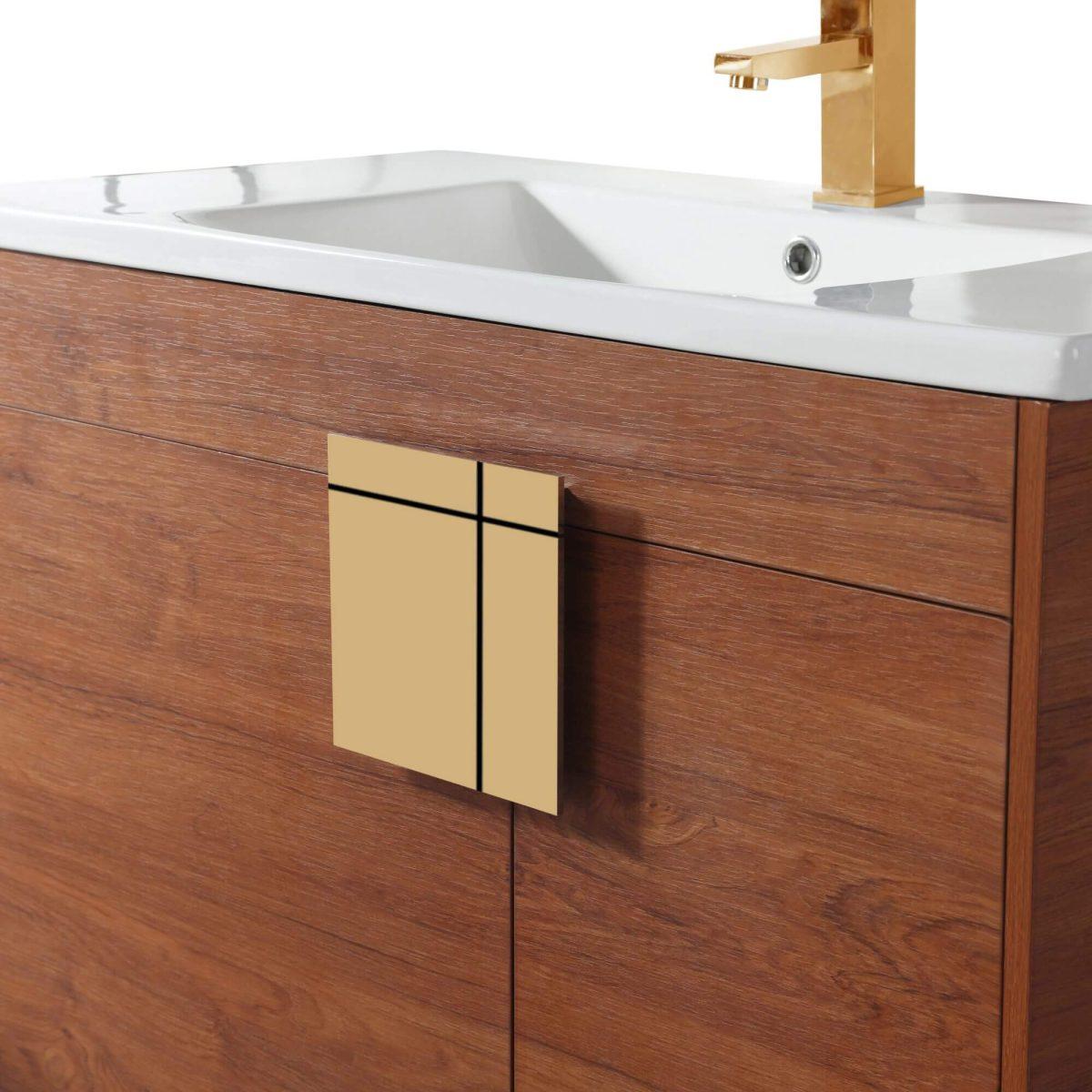"Shawbridge 36"" Modern Bathroom Vanity  Spicy Walnut with Satin Brass Hardware"