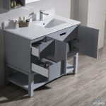 Monaco Modern 42″ Metal Gray Right Bathroom Vanity Set with Mirror, Wall Cabinet and Wood Legs