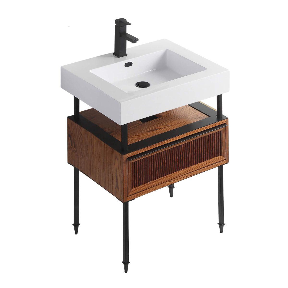 "Dakota 24"" Modern Bathroom Vanity  Teak Brown with Black Hardware"