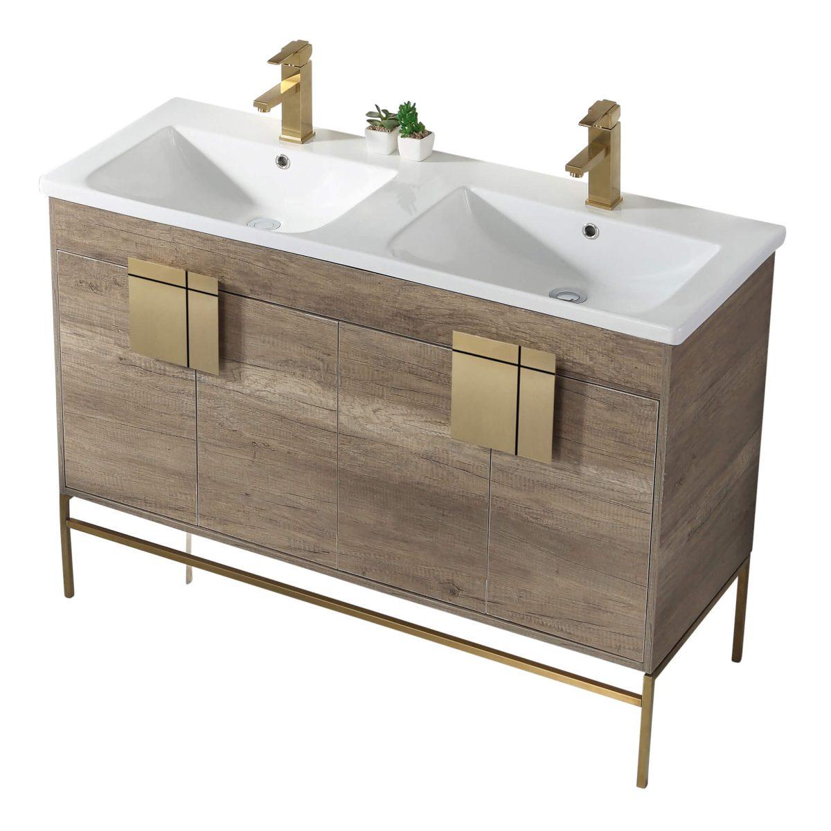 "Shawbridge 48"" Modern Double Bathroom Vanity  Shadow Gray with Satin Brass Hardware"