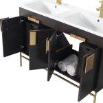 Shawbridge 48″ Modern Double Bathroom Vanity  Black Oak Straight Grain with Satin Brass Hardware