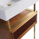 Dakota 24″ Modern Bathroom Vanity  Teak Brown with Satin Bras Hardware