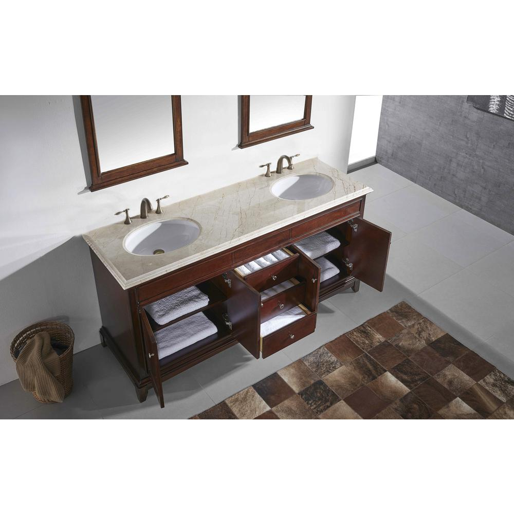 Eviva Elite Stamford 60 In. Brown Solid Wood Bathroom Vanity Set With Double Og Crema Marfil Marble Top and White Undermount Porcelain Sinks