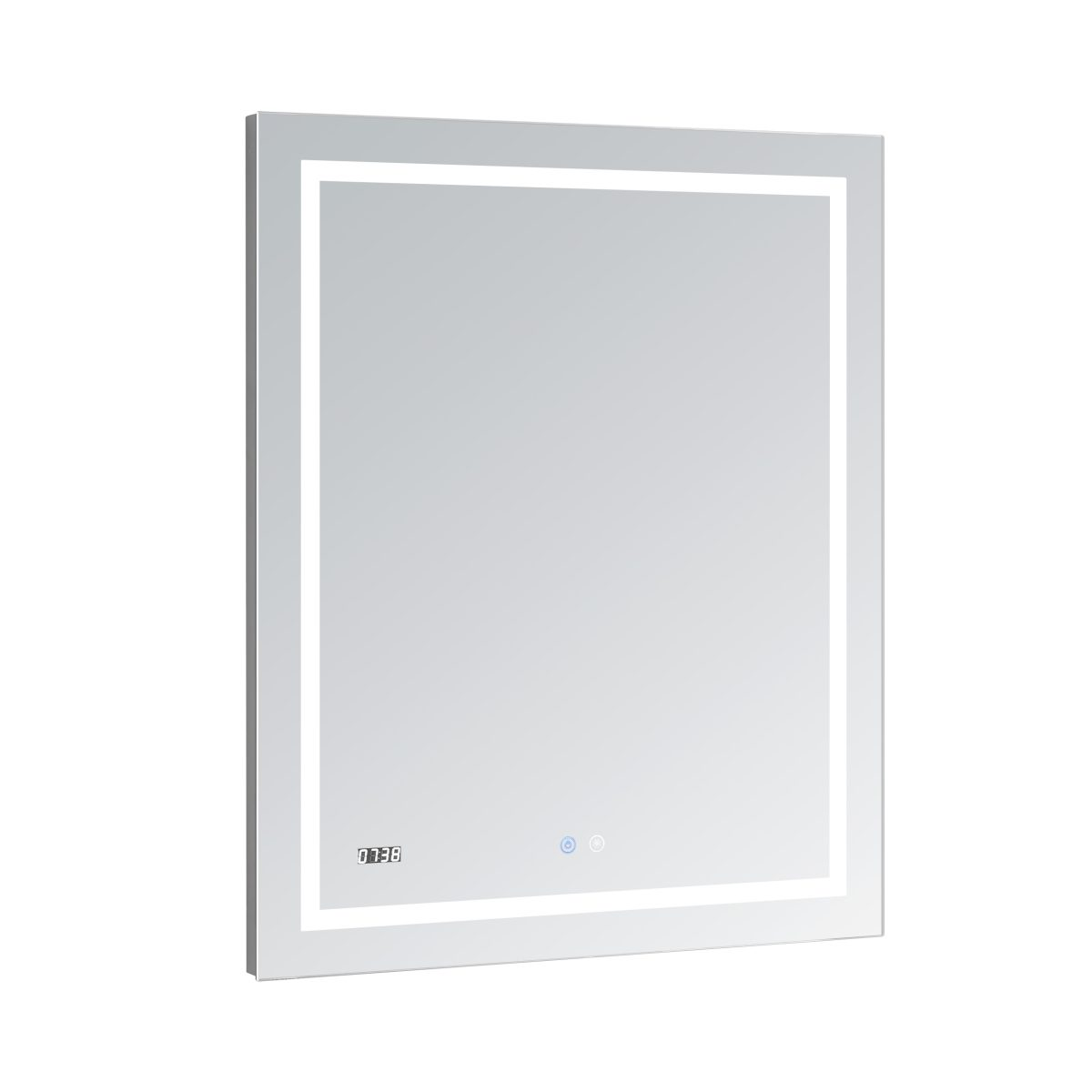 AQUADOM Daytona 24 inches x 30 inches Wall Mounted LED Lighted Silver Mirror for Bathroom