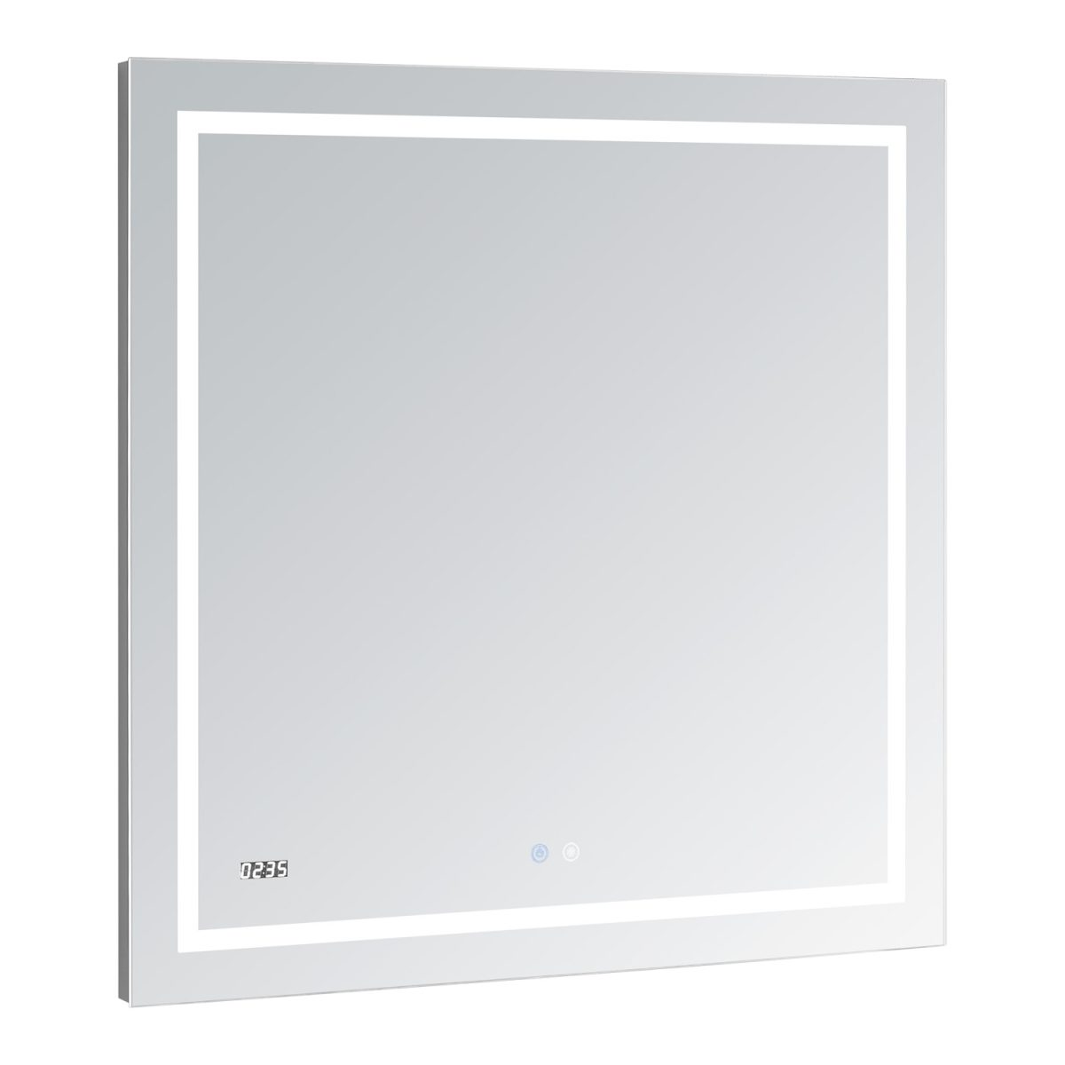 AQUADOM Daytona 30 inches x 30 inches Wall Mounted LED Lighted Silver Mirror for Bathroom