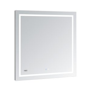 AQUADOM Daytona 36 inches x 36 inches Wall Mounted LED Lighted Silver Mirror for Bathroom