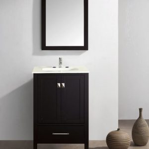 Eviva Aberdeen 24 In. Transitional Espresso Bathroom Vanity With White Carrera Countertop