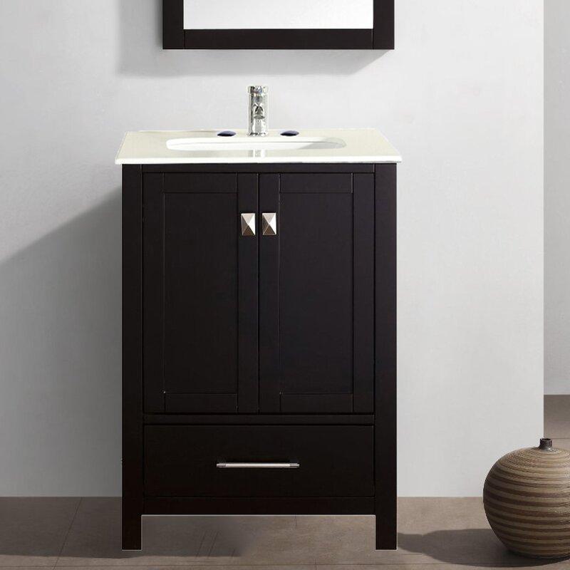 Eviva Aberdeen 24 In. Transitional Espresso Bathroom Vanity With White Carrera Countertop