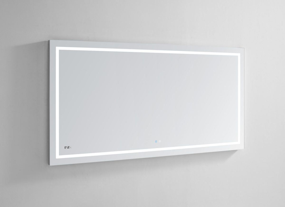 AQUADOM Daytona 60 inches x 30 inches Wall Mounted LED Lighted Silver Mirror for Bathroom