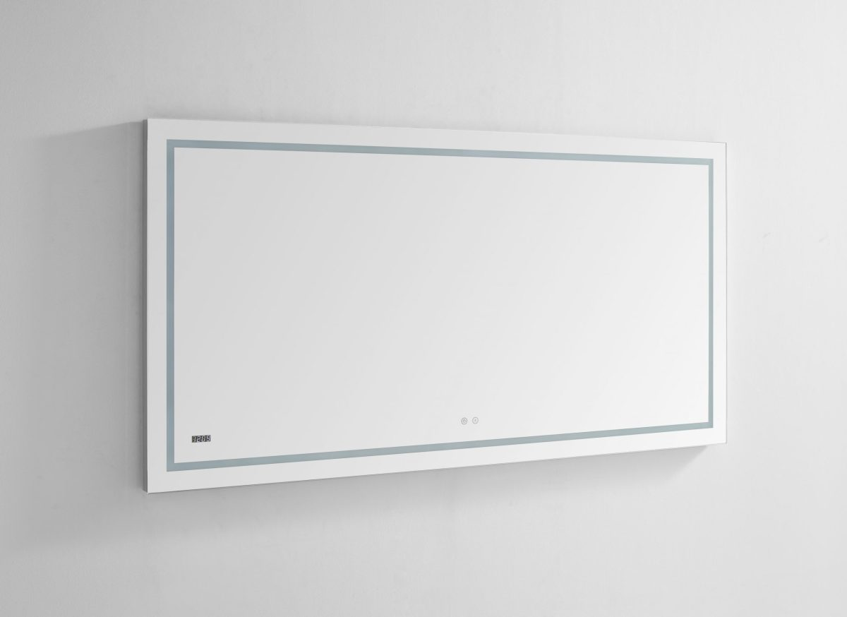 AQUADOM Daytona 72 inches x 36 inches Wall Mounted LED Lighted Silver Mirror for Bathroom