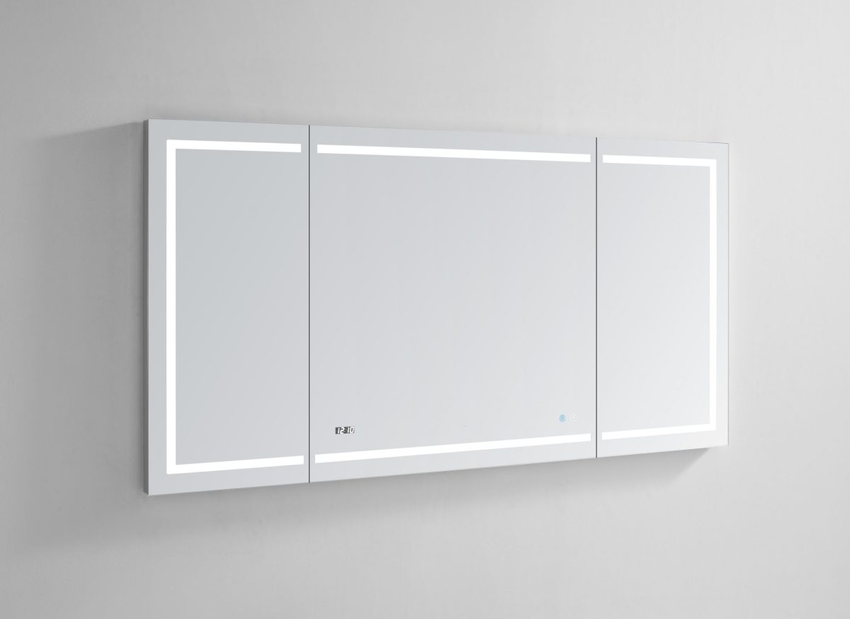 AQUADOM Signature Royale 60 inches x 30 inches LED Lighted Mirror Glass Medicine Cabinet for Bathroom