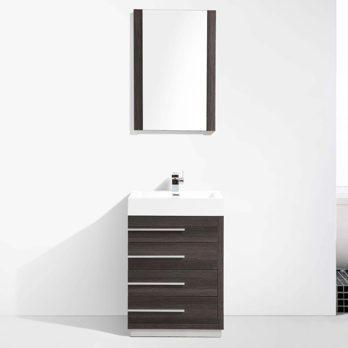 "Barcelona Modern 24"" Bathroom Vanity Set in Dark Oak"