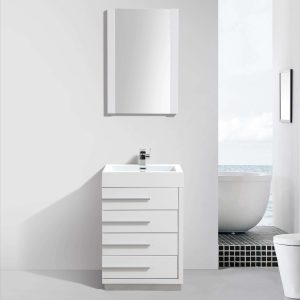 "Barcelona Modern 24"" Bathroom Vanity Set in Glossy White with Mirror"