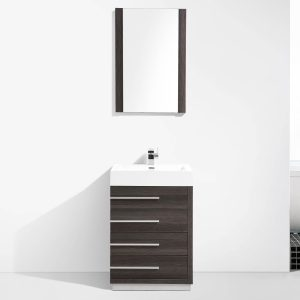 "Barcelona Modern 30"" Bathroom Vanity Set in Dark Oak with Mirror"