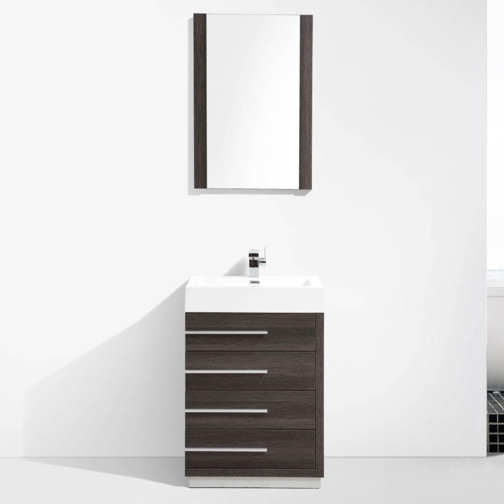 "Barcelona Modern 30"" Bathroom Vanity Set in Dark Oak"