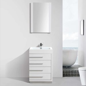 "Barcelona Modern 30"" Bathroom Vanity Set in Glossy White with Mirror"