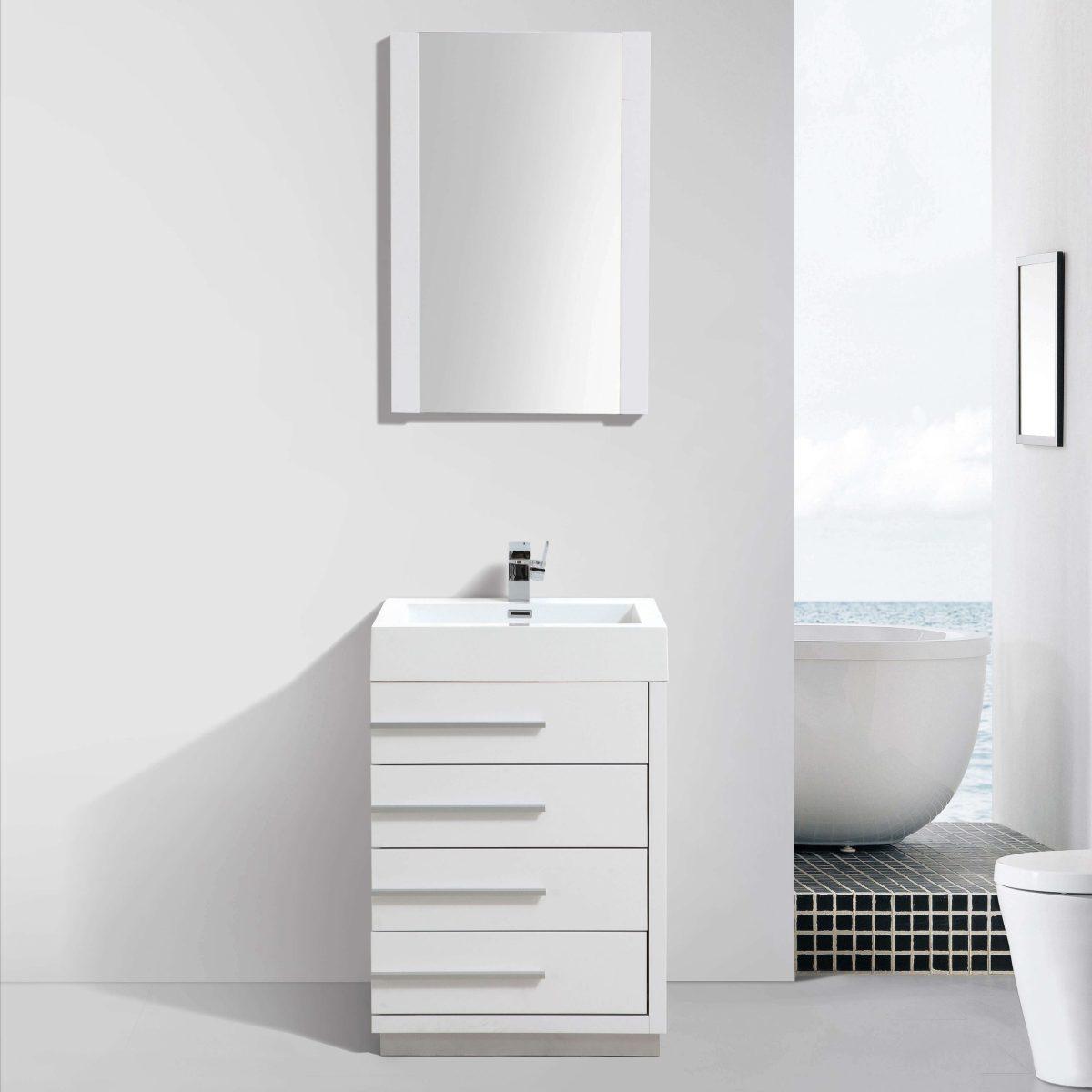 "Barcelona Modern 30"" Bathroom Vanity Set in Glossy White with Mirror"
