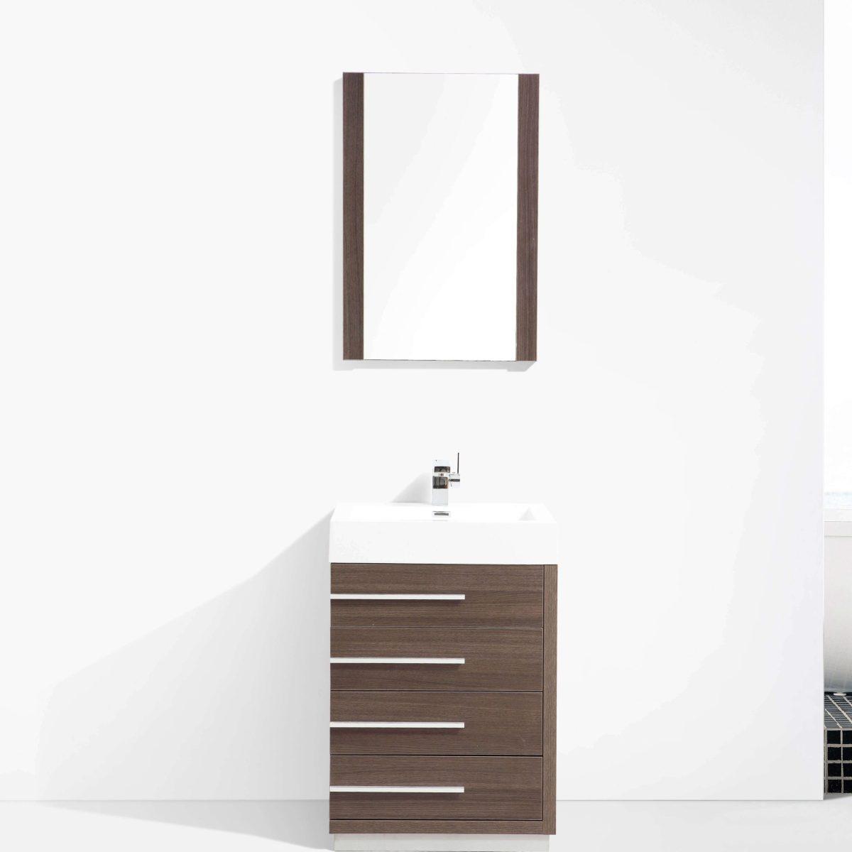"Barcelona Modern 30"" Bathroom Vanity Set in Gray Oak with Mirror"
