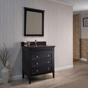 "Bordeaux 30"" Espresso Bathroom Vanity Set with Mirror and Mocha Woodland Quartz Countertop"