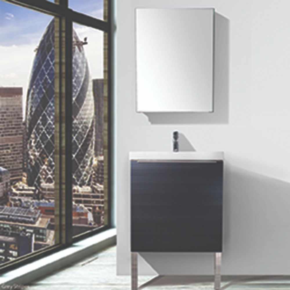 "London 24"" Bathroom Vanity Set with Grey Stripes Medicine Cabinet"