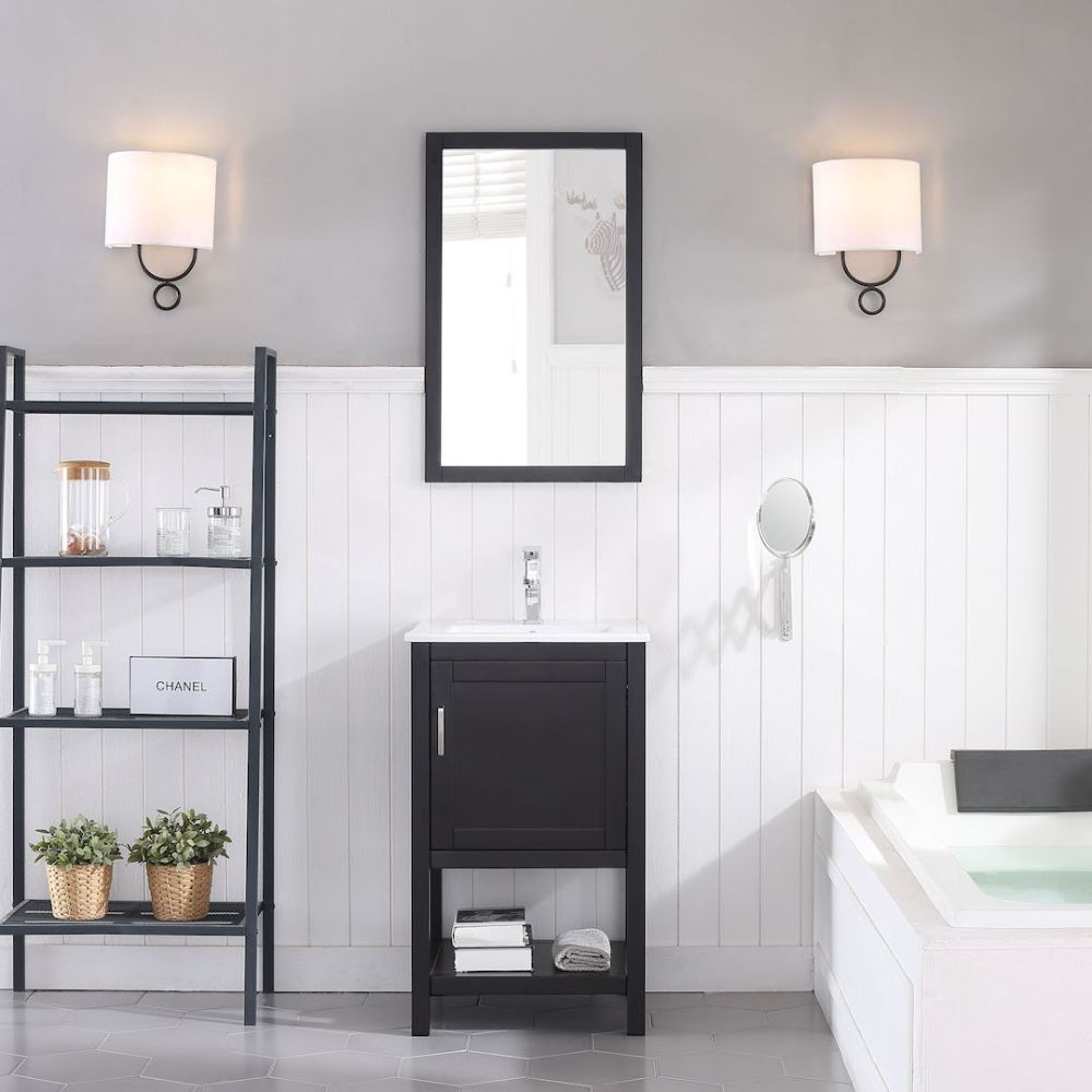 "Lucca Modern 20"" Bathroom Vanity Set with Mirror Espresso"
