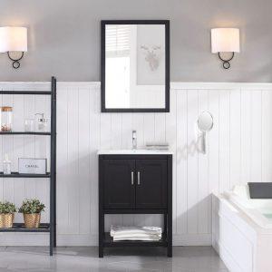 "Lucca Modern 24"" Bathroom Vanity Set with Mirror Espresso"