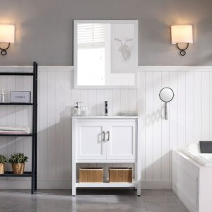 "Lucca Modern 30"" Bathroom Vanity Set with Mirror Matte White"
