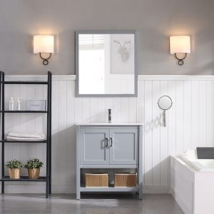 "Lucca Modern 30"" Bathroom Vanity Set with Mirror Metal Gray"