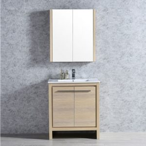 "Milan Modern 30"" Briccole Oak Bathroom Vanity Set with Mirror"