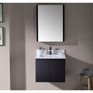 "Monaco Modern 24"" Wall Mount Bathroom Vanity Set with Medicine Cabinet, Espresso"