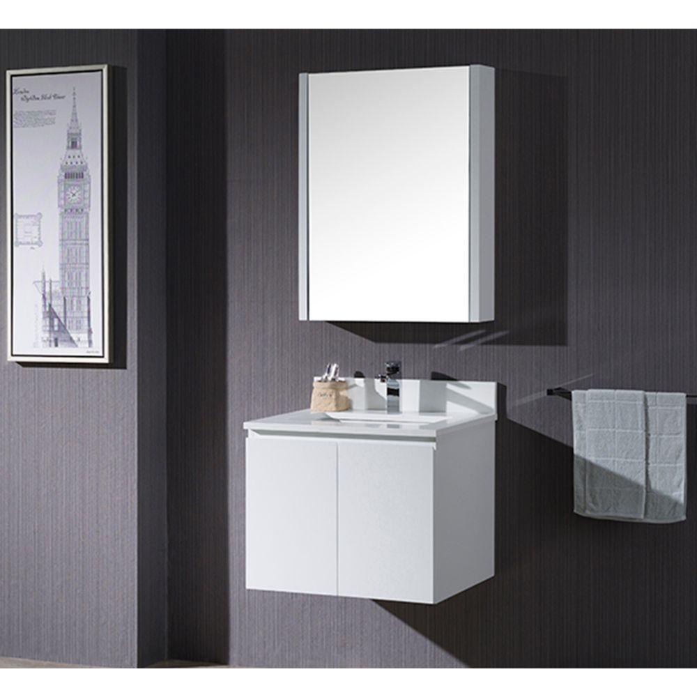 "Monaco Modern 24"" Wall Mount Bathroom Vanity Set with Medicine Cabinet, Matte White"