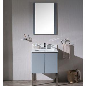 "Monaco Modern 24"" Bathroom Vanity Set with Mirror and Chrome Legs, Metal Grey"